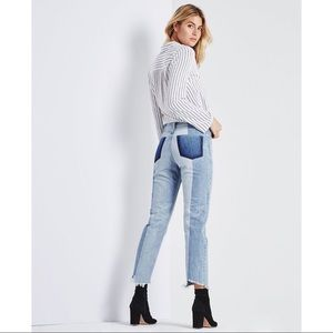 AG Phoebe High Rise Cropped Jean Two-tone $325 26